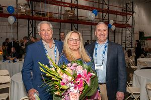 Bruce Kellar, Senior VP of Sales, Shannon Freise, VP of Operations, and Frank Flynn, President of Sager Electronics celebrate the Grand Opening of the new Power Solutions Center