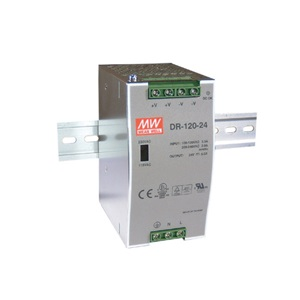 DR-120-24 MEAN WELL 120 W, SINGLE OUTPUT, 24 V@5 A INDUSTRIAL PLASTIC AC-DC POWER SUPPLY