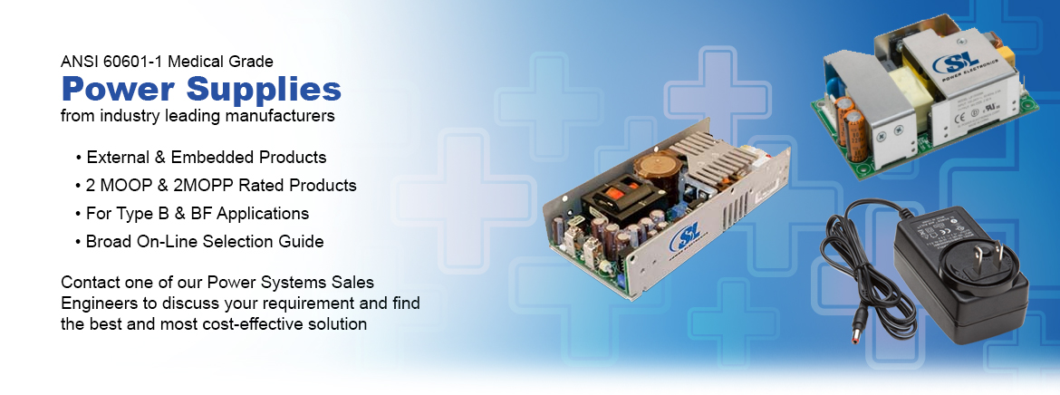 ANSI 60601-1 Medical Grade Power Supplies in stock at Sager